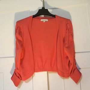 Coral Cardigan with Gathered Sleeves